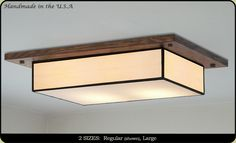Handmade in the U.S.A. Mission Ceiling Light, Choose Custom Colors and Heights for your Home, with Free Shipping. Dining Room Light Fixtures, Kitchen Lighting Fixtures, Ceiling Light Fixtures, Ceiling Lights, Fluorescent Light Covers, Oak Stain, Flush Mount Lighting, Skylight, Colored Glass