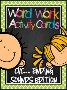 Word Work Activity Cards--CVC Isolating Ending Sound Edition
