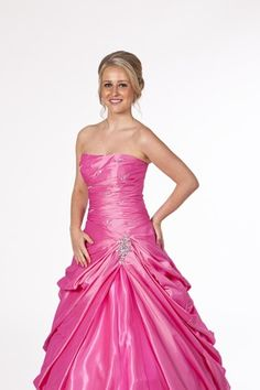 Lovely full length pink ball gown from Prom Frocks