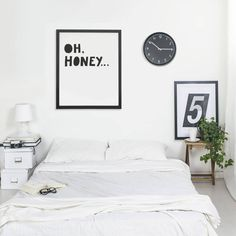 'Oh Honey' Large Typographic Print. Created by our in-house designer, this lighthearted typographic print is perfect to brighten any room.