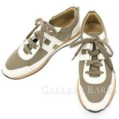 エルメス スニーカー パートナー Partner カーキ ヴォーエプソン メンズサイズ42 HERMES 靴 シューズ