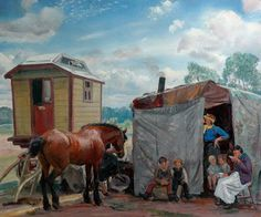 dame laura knight paintings | Gypsies, Caravan and Pony by Laura Knight