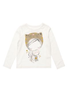 Dress her up in this adorable cream T-shirt with a glittery print at the front. Perfectly comfortable, this long-sleeved top features a crew neck with ruched detailing at the shoulder. Perfect for everyday wear.<br /><ul><li>Girls cream printed T-shirt</li><li>Crew neck</li><li>Long sleeves</li><li>Ruched detailing</li><li>Keep away from fire</li></ul>