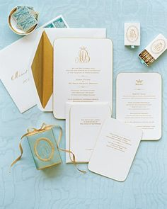 The stationery, by Crane & Co., has engraved lettering and a gold beveled edge. The tips of the mathes, by For Your Party, are gold, and the vintage stamps were chosen for their color. Calligraphy by Maria-Helena Hoksch.