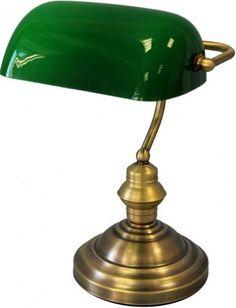 Lampka klasyczna biurkowa zielona 36x26x24