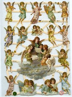 GOLD GLITTERED SCRAP Reliefs  Angels Five by OneDayLongAgo on Etsy
