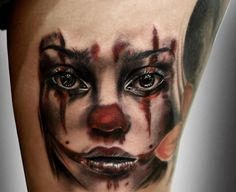 Color Girl Face Portrait 3D Tattoo | Tattoobite.com