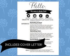 Resume And Cover Letter Includes Social Media By CareerGirlDesigns