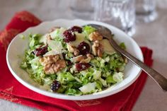Brussel Sprout Salad with Pear, Cranberries and Parmesan