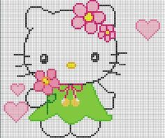 schema punto croce hello kitty con vestitino verde