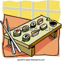 Stock Illustration - A selection of sushi. Fotosearch - Search Clipart, Illustration Posters,
