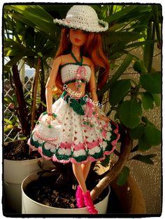 #Roupa #Verão #Summer #Doll #Crochet #Vestido #Dress #Barbie #Chapéu #Skirt #Muñeca #RaquelGaucha