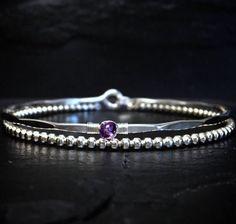Genuine Amethyst Bangle / February Birthstone Bracelet /