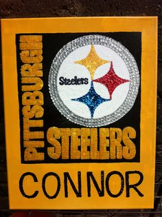 Pittsburgh Steelers canvas  sequin mosaic $25.00 #teresascanvascreations