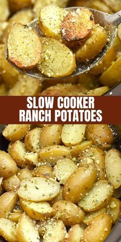 Slow Cooker Ranch Potatoes are hearty, tasty, and so easy to make in the crockpo. Slow Cooker Ranch Potatoes are hearty, tasty, and so easy to make in the crockpot. They're the perfect side dish for weeknight dinners or holiday parties. Potato Recipes Crockpot, Crockpot Side Dishes, Side Dish Recipes, Party Crockpot Recipes, Dinner Crockpot, Crockpot Ideas, Appetizers In Crockpot, Side Dishes For Meatloaf, Ranch Potato Recipes