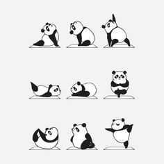 Panda Yoga Cute Sticker by Huebucket - White Background - Panda Kawaii, Panda Illustration, Animal Yoga, Yoga Art, Totoro, How To Do Yoga, Cute Drawings, Cute Wallpapers, Cute Animals