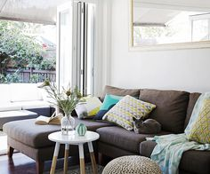 See how stylist Kerrie-Ann Jones makes over a Sydney family's rental home with a… Outdoor Furniture Sets, Outdoor Decor, Room Accessories, House Design, Pillows, Chic, Bed, Interior, Color