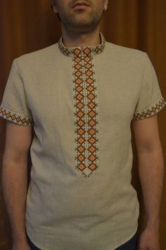 Modern Embroidered Shirt for Men and Boys Vyshyvanka Linen Shirt with Zipper  Ukrainian Handmade Embroidered patterns