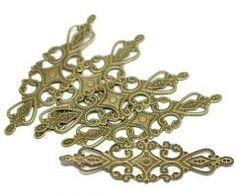 Vintage Victorian Styled Steampunk Filigree Elongated Jewelry Wrap or  Embellishment in Antique Bronze/Brass Finish