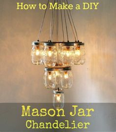 Light up your home with these easy DIY Mason Jar Chandelier Tutorial. This lighting idea can be customized for your room. Watch the video for easy instructions. #lighting #masonjar #crafts