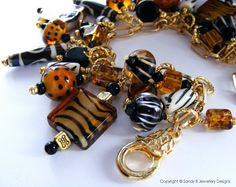Out of Africa Charm Bracelet Animal Print Lampwork Glass Beads