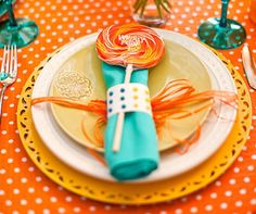 30 Candy Theme Ideas - Candy Button Napkin Rings & Whirly Lollipops via The Cake Blog - mazelmoments.com