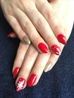 Semilac 001, 037, 063 #NailsByDyta #semilac #semilacnails #golddisco #legendaryred #christmas #christmasnails