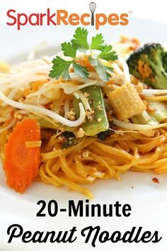 Noodles with Easy Peanut Sauce. I make these often. When I am in a hurry I use a bag of broccoli slaw and call it good. And I tend to add extra sriracha sauce. | via @SparkPeople #dinner #recipe #healthy #kidfriendly