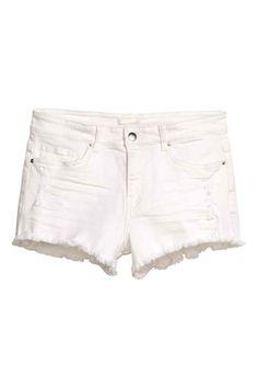 Short en jean à l aspect usé - Denim blanc - FEMME  903dd546e71
