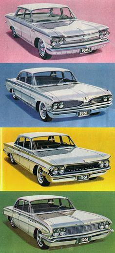 1961 General Motors: Chevrolet Corvair, Pontiac Tempest, Buick Skylark, and Oldsmobile F-85.