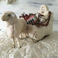 1900's Antique German Cotton Spun Sleigh Bisque Doll and Big Erzgebirge Sheep