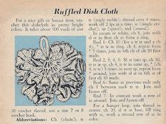 Vintage Knit Crochet Pattern Shop: Crocheted Scrubby Dish Cloth, Free Pattern