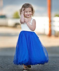 Loving this Royal Blue Lace Glitter Dress - Toddler & Girls on #zulily! #zulilyfinds