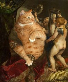Titian, Venus with a Mirror or Venus in furs. Part 1 of Venus' Selfie diptych, by Fat Cat Art Crazy Cat Lady, Crazy Cats, Funny Cats, Funny Animals, Cats Humor, Funny Horses, Renaissance, Gatos Cats, Classic Paintings