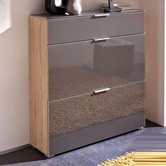 Perla Shoe Cabinet In Canadian Oak And Graphite Glass