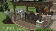 Pair this outdoor kitchen with granite countertop, side burner and protective storage with one of wide pergolas. Plan includes how-to's and material list.