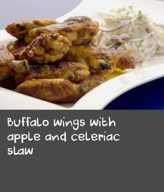 Buffalo wings with apple and celeriac slaw Celery Recipes, Apple Recipes Easy, Slaw Recipes, Wine Recipes, Simple Slaw Recipe, Apple Wine, Celeriac, Buffalo Wings, Chicken Wings