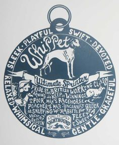 """""""Pride of British Working Class Earning its Keep in Winnings"""" whippet dog tag."""