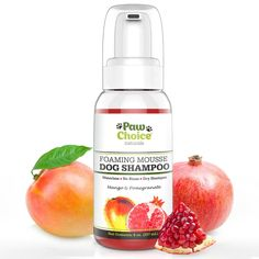 Dry Dog Shampoo, Waterless, No Rinse Foam Mousse - Best for Bathless Cleaning of Coat and Removing Pet Odor - Mango & Pomegranate Scent, Natural with No Harsh Detergents, Made in USA
