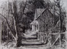 The Shadowy Path by John McCartin Charcoal ~  x