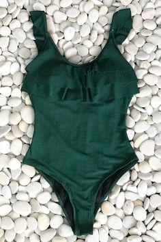 CUPSHE Dark Green Ruffle One-piece Swimsuit Women Solid Beach Bathing Suit Monokini 2020 Girl Sexy Swimwear Crochet One Piece, Green One Piece, Striped One Piece, Bikini Sets, Bikini Mode, Floral Bikini, Beach Wear, Ribbed Fabric, Swimsuits