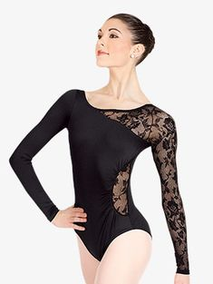 Adult Long Sleeve Leotard with Lace Sleeve and Insert - Style No N8650 Lace Leotard, Long Sleeve Leotard, Dance Outfits, Dance Dresses, Pullover Shirt, Leotard Fashion, Ballroom Dress, Skating Dresses, Lace Sleeves