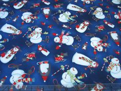 Look at those Scottie dogs in skates......... found on EBay.............3 Yards Quilt Cotton Fabric- Studio E Chilly Silly Snowmates Snowmen on Blue