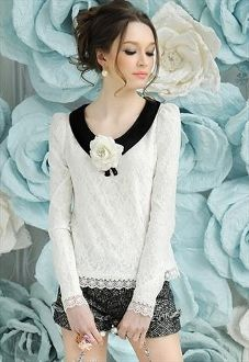 Easy alternations to a plain T or sweater, add black collar, pin on flower, add lace to cuffs and hemline