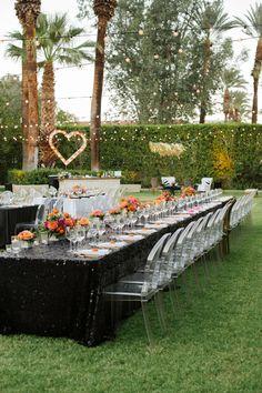 outdoor reception - photo by Krista Mason Photography http://ruffledblog.com/retro-modern-wedding-in-palm-springs