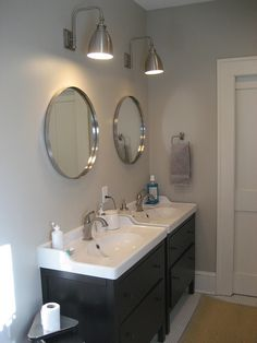 two side-by-side Ikea hemnes sink consoles (with different sinks)
