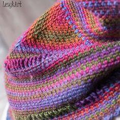 Crochet triangle shawl with a tube collar on top, made with Scheepjes. #LesykArt Трикутна шаль гачком з коміром-трубою (одягається через голову), зв'язана з голандської нитки Scheepjes. #ЛесикАрт Knitted Hats, Blanket, Knitting, Crochet, Art, Long Scarf, Art Background, Tricot, Breien