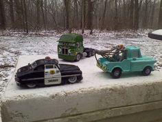 Disney Pixar Cars Diecast Tow Maters Sheriff & Peterbilt Kenworth Cars 1:55 #disney #varies