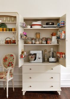 Tiny kitchen or maybe your open plan kitchen diner is bursting at the seams? Free-standing furniture makes rooms look bigger - and our larder can pack in plenty of kitchen stuff, too. Find it at www.thedormyhouse.com #storage
