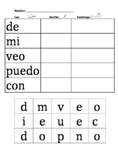 Spanish Elementary Sight Word Center : Cut and Paste! Dual Language Classroom, Bilingual Classroom, Bilingual Education, Sight Word Centers, Word Work Centers, Word Work Stations, Literacy Stations, Elementary Spanish, Elementary Schools